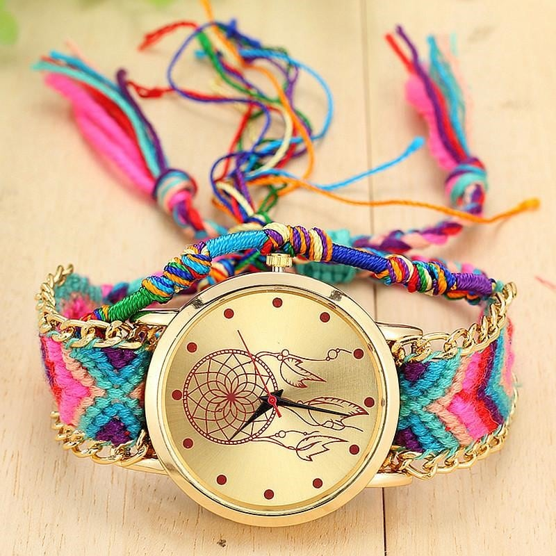 Плетеные наручные часы в этно-стиле