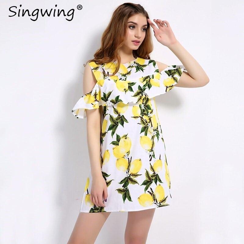 Купить Короткое платье с лимонами