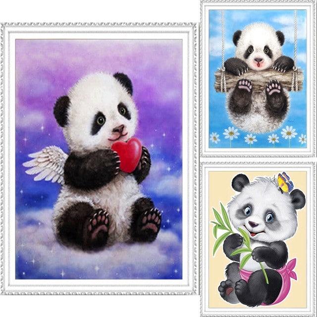Алмазная вышивка с милыми пандами на Аликспресс