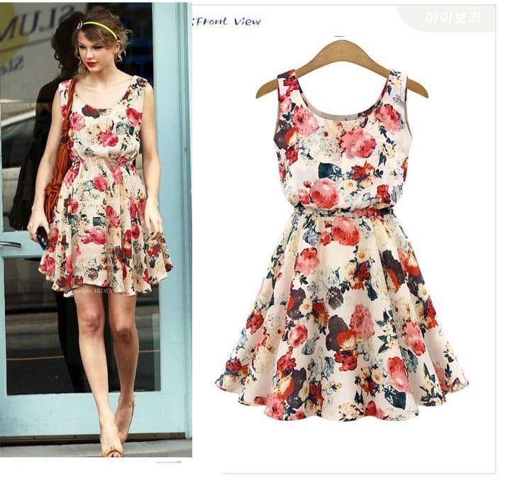Купить Летнее платье с цветочным принтом