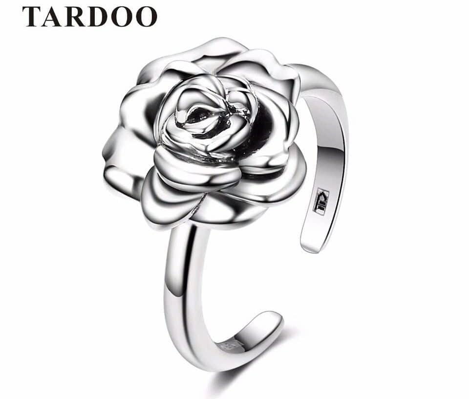 Серебряное кольцо с розой на Алиэкспресс
