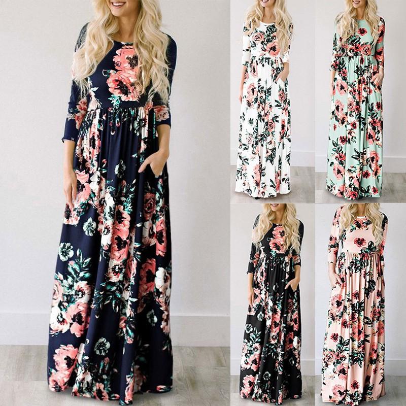 Купить Платье в пол с маками