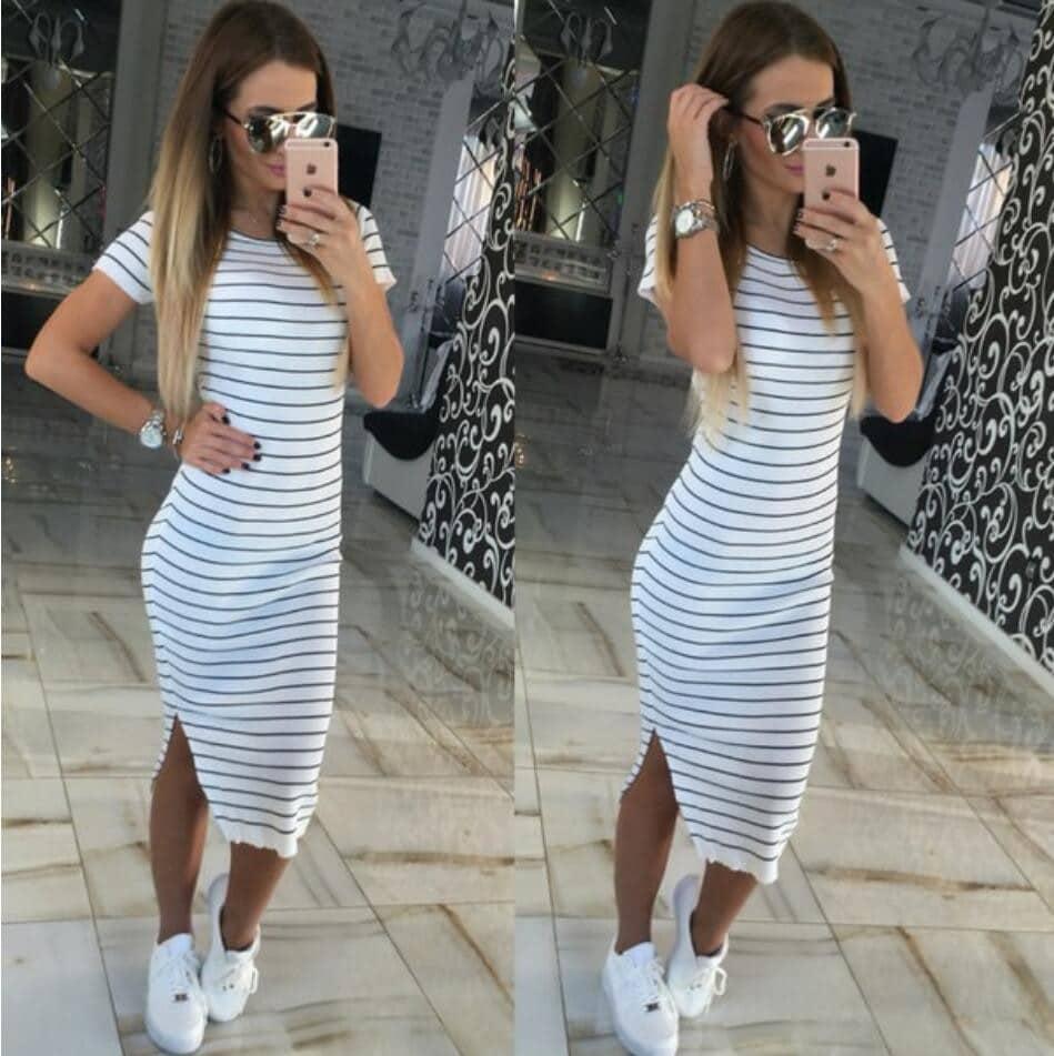 Купить Стильное платье в полоску