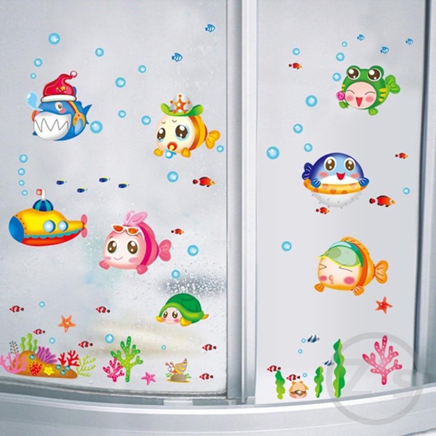 Наклейки в ванную«Рыбки» купить на Алиэкспресс