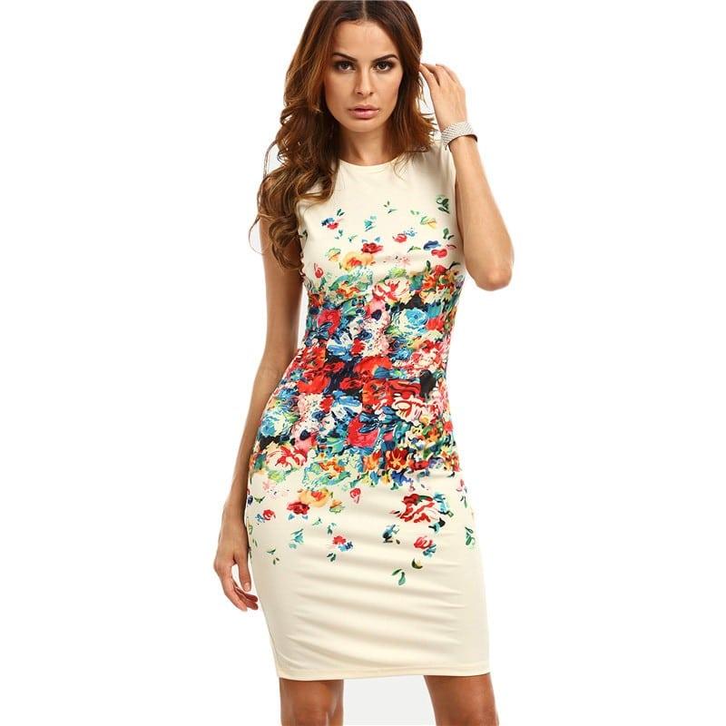 Купить Платье с цветным принтом