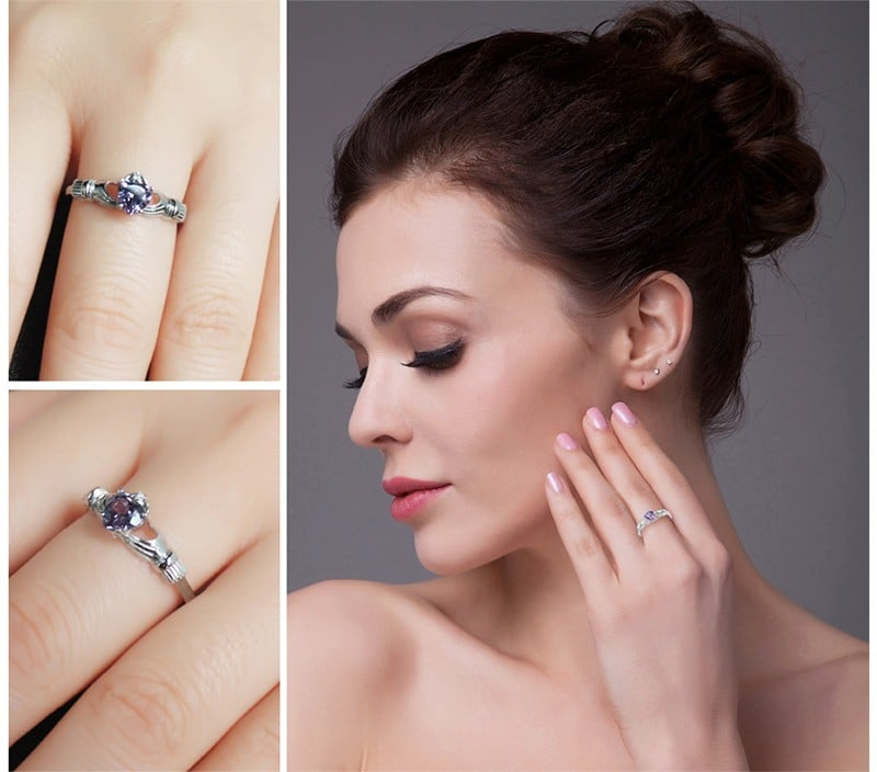 Серебряное кольцо с александритом на Алиэкспресс