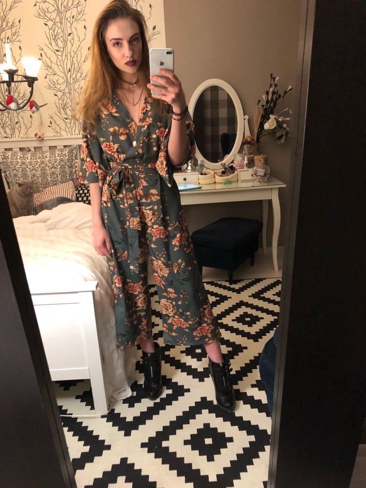 Легкий комбинезон с цветочным принтом на Алиэкспресс