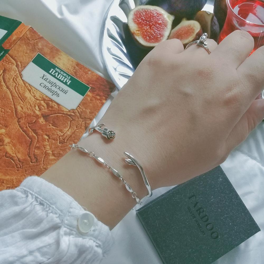 Серебряный браслет с розой на Алиэкспресс