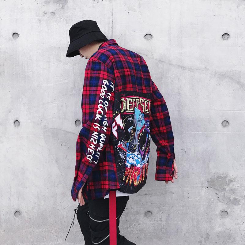 Рубашка в клетку в стиле хип-хоп купить на Алиэкспресс