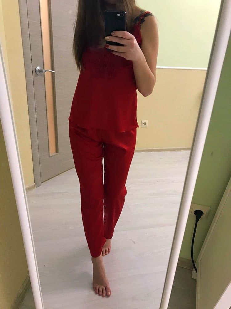 Шелковая пижама с брюками купить на Алиэкспресс