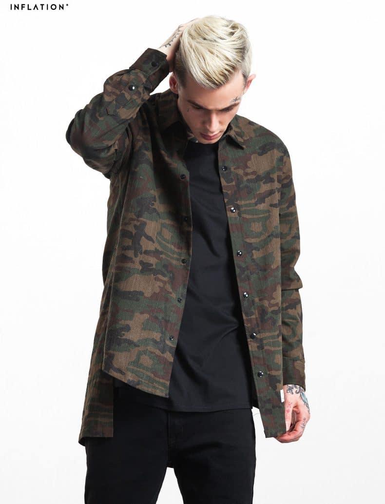 Рубашка в стиле милитари с удлиненной спинкой купить на Алиэкспресс