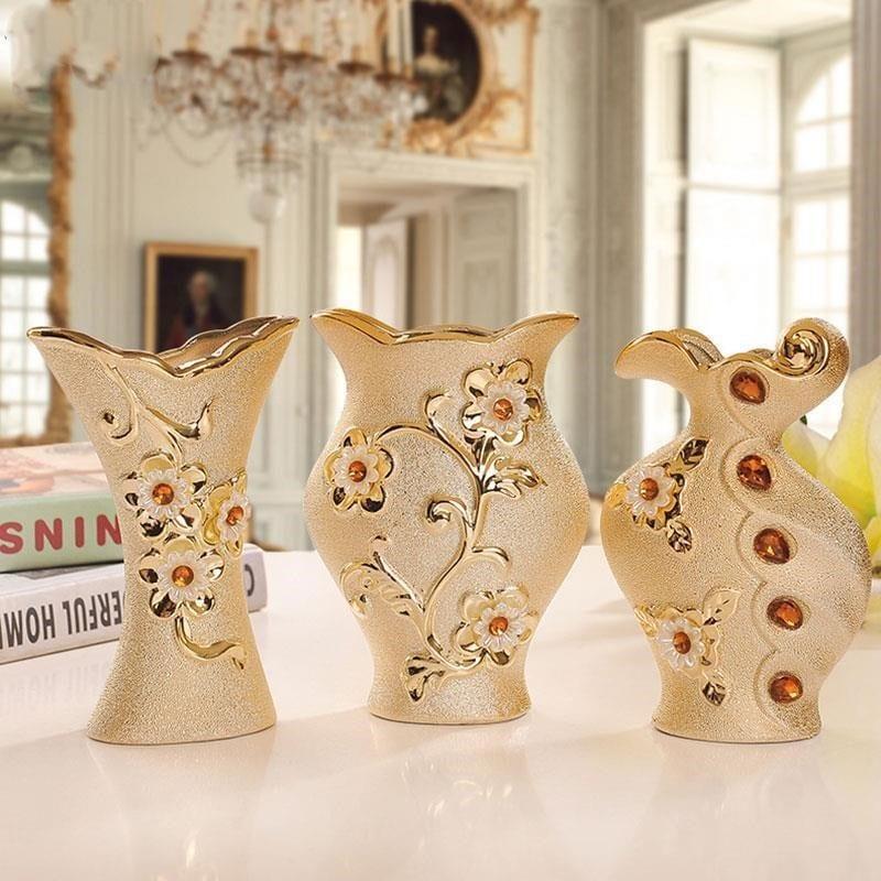 Позолоченная ваза с цветами купить на Алиэкспресс