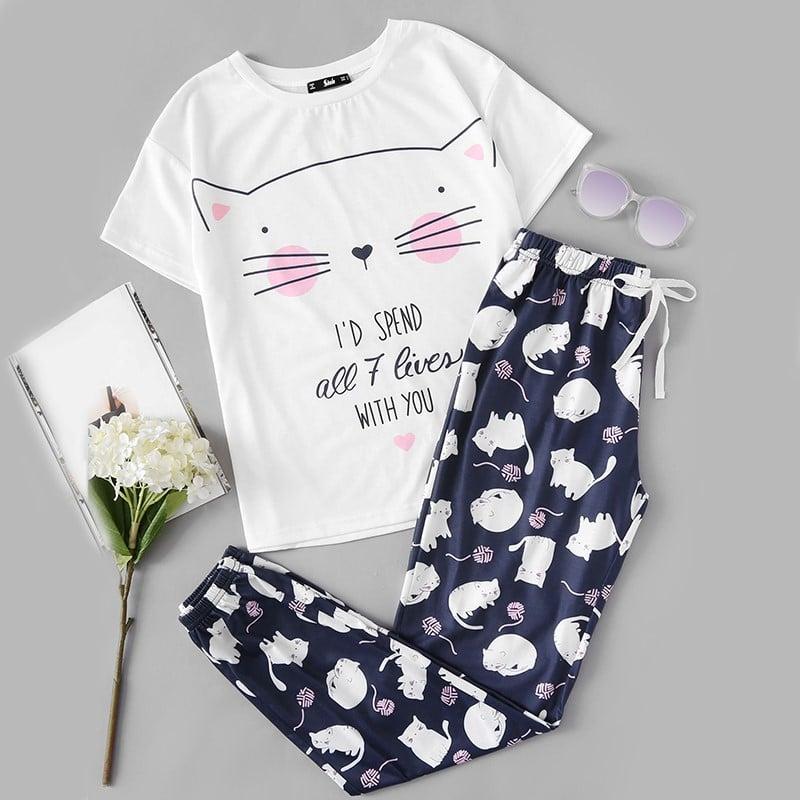Пижама с котиками купить на Алиэкспресс