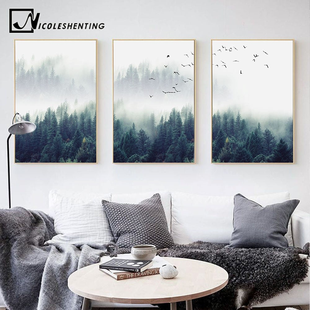Картина «Лес в тумане» купить на Алиэкспресс