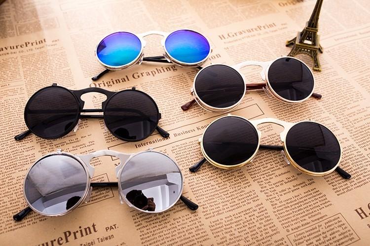 Очки в стиле ретро-панк с откидными стеклами купить на Алиэкспресс