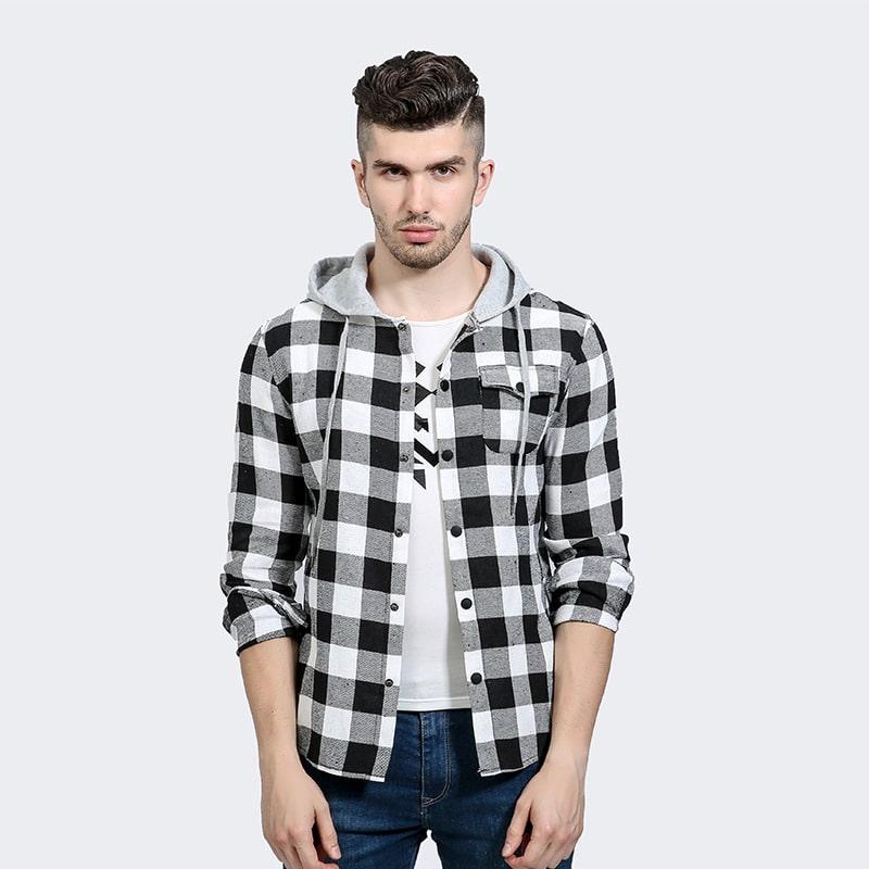 Рубашка в клетку с капюшоном купить на Алиэкспресс