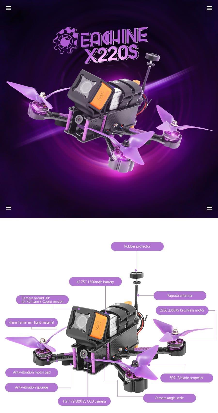 Гоночный квадрокоптерEachine Wizard X220S купить на Алиэкспресс
