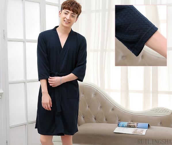 Вафельный мужской халат купить на Алиэкспресс