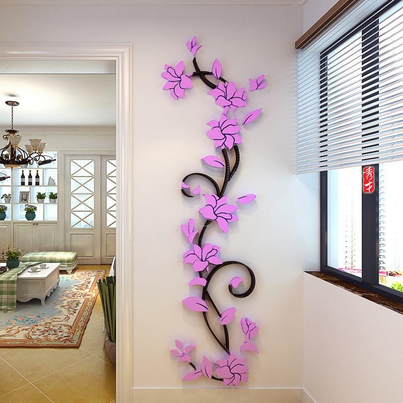 Пластиковая наклейка на стену «Цветок» купить на Алиэкспресс