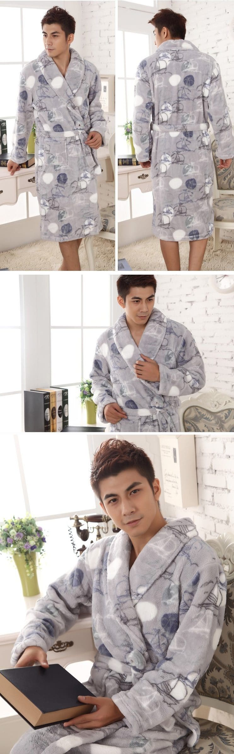 Длинный фланелевый халат купить на Алиэкспресс
