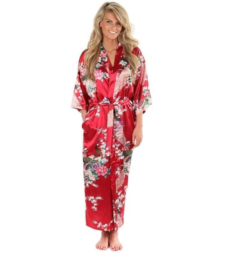 Длинный шелковый халат купить на Алиэкспресс