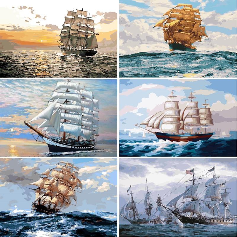 Картины по номерам морской тематики купить на Алиэкспресс