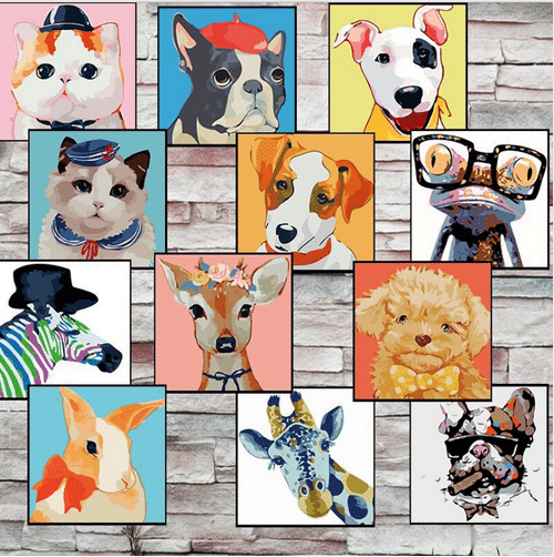 Картины по номерам с животными купить на Алиэкспресс
