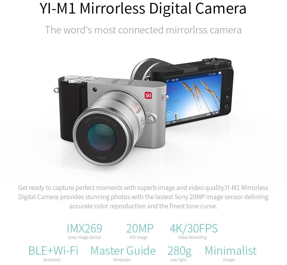 Фотоаппарат Yi-M1 с Bluetooth и Wi-Fi купить на Алиэкспресс