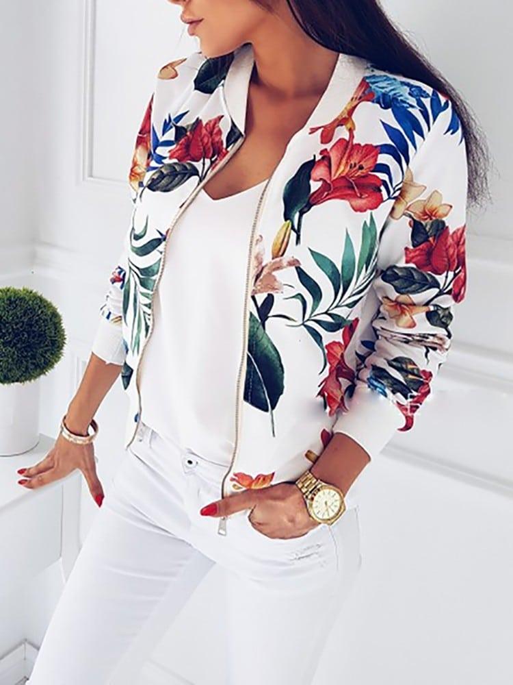 Весенняя куртка с цветочным принтомкупить на Алиэкспресс