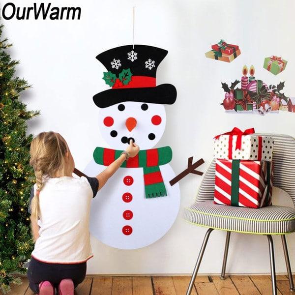 Фетровый снеговик на стену купить на Алиэкспресс