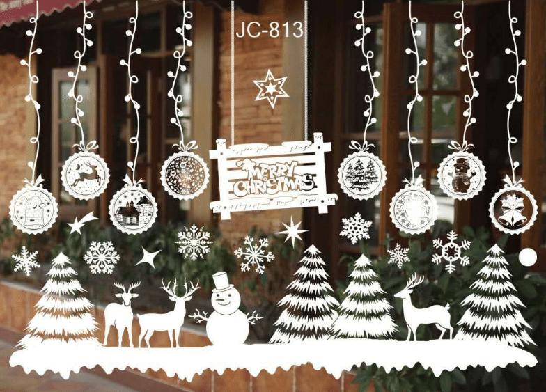 Наклейки на окна к Новому году купить на Алиэкспресс