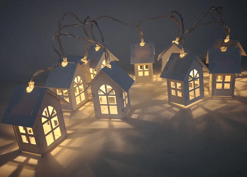 Новогодняя гирлянда-домики купить на Алиэкспресс