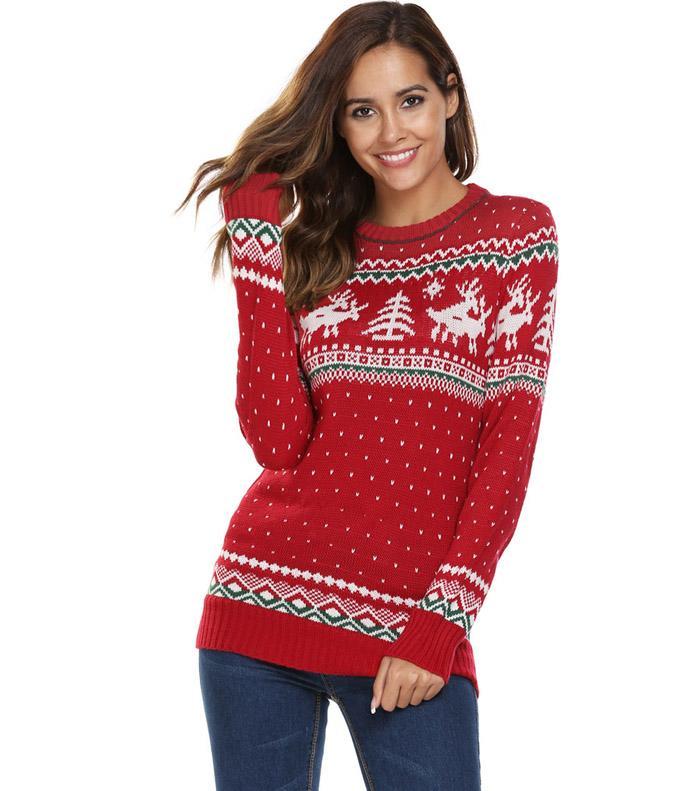 Новогодний свитер с оленями FINEJO купить на Алиэкспресс
