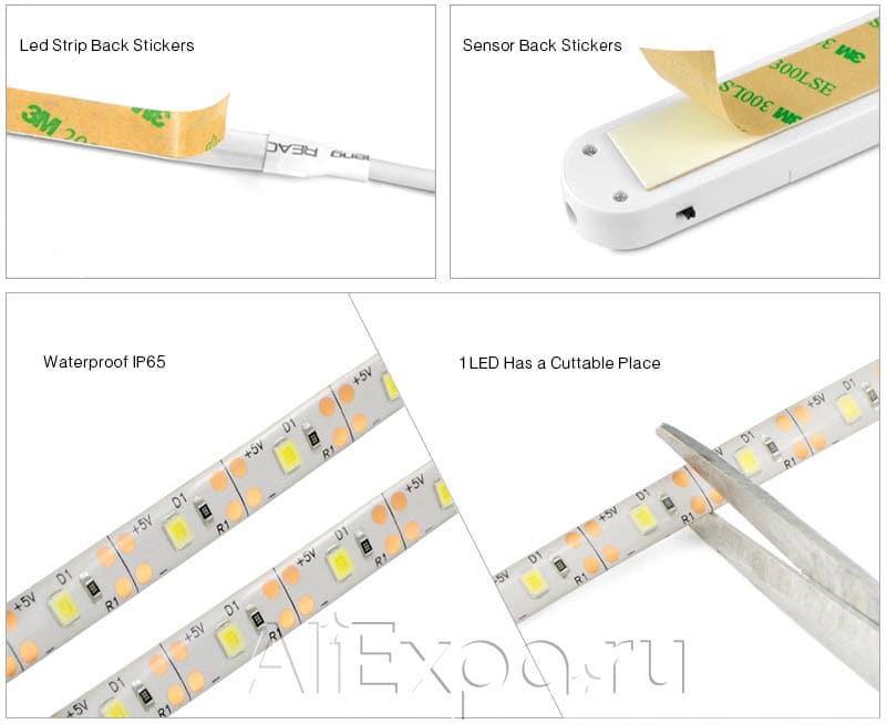 Светодиодная лента на батарейках с датчиком движения MALITAI купить на Алиэкспресс