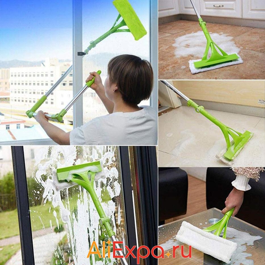 Телескопическая швабра для мытья окон и пола | Товары для уборки дома