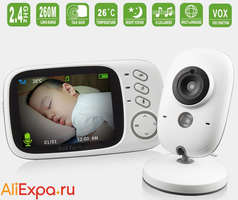 Видеоняня TakTark с датчиками температуры, ночного видения и колыбельными купить на Алиэкспресс