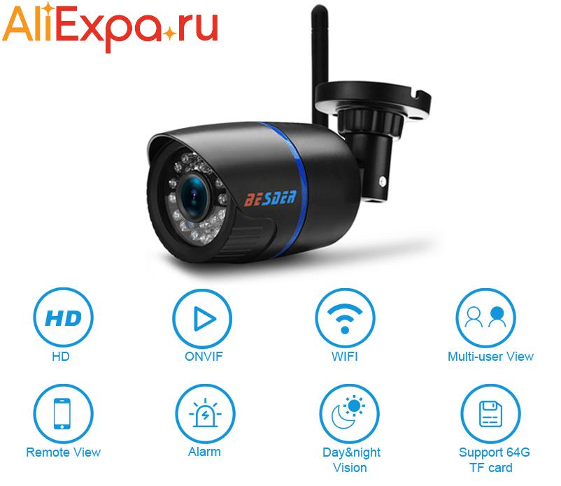 Уличная камера видеонаблюдения с WiFi, дачтиком движения и ночным видением BESDER купить на Алиэкспресс
