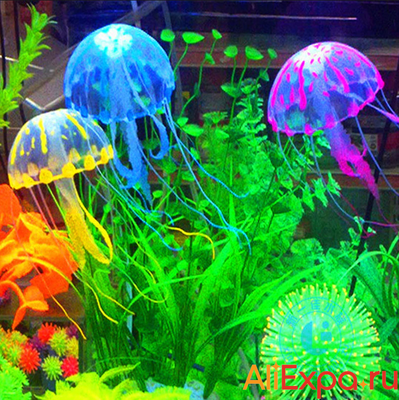 Светящаяся искусственная медуза для аквариума купить на Алиэкспресс