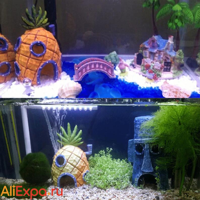 Домики из Спанч Боба в аквариум купить на Алиэкспресс