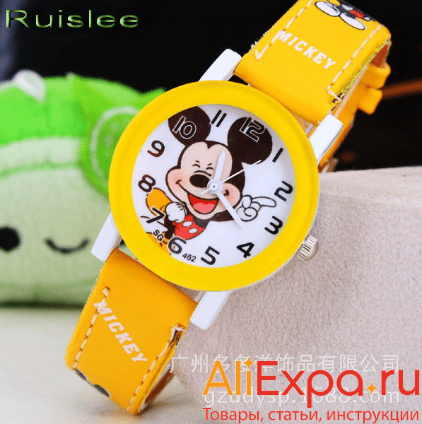 Детские часы с Микки Маусом купить на Алиэкспресс