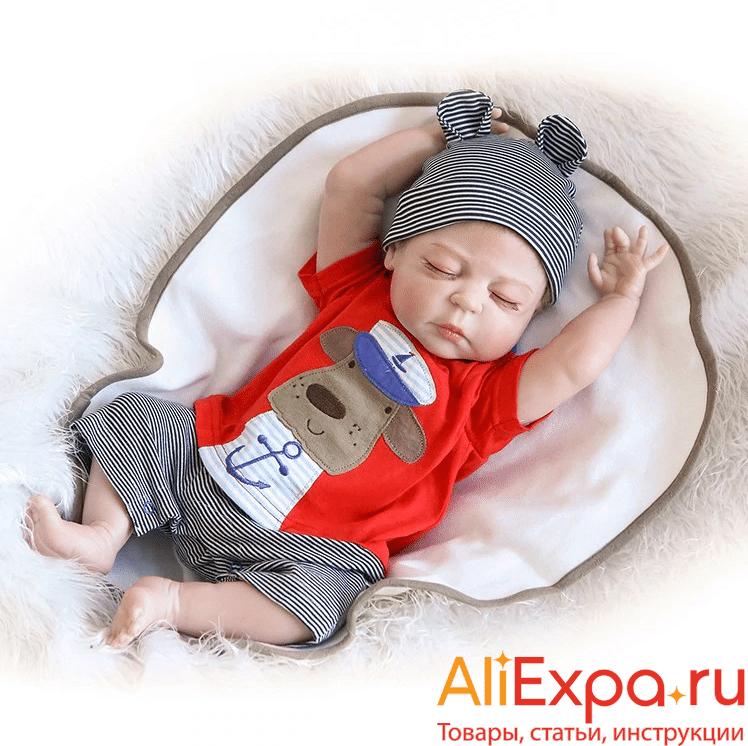 Силиконовая кукла Реборн — спящий мальчик купить на Алиэкспресс