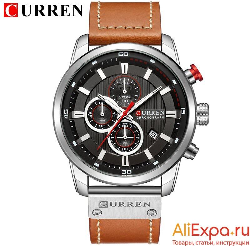 Мужские часы с кожаным ремешком купить на Алиэкспресс