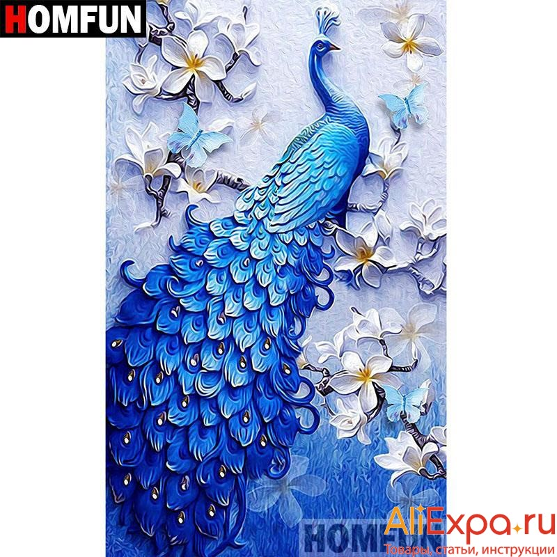Алмазная мозаика с павлином разных размеров купить на Алиэкспресс