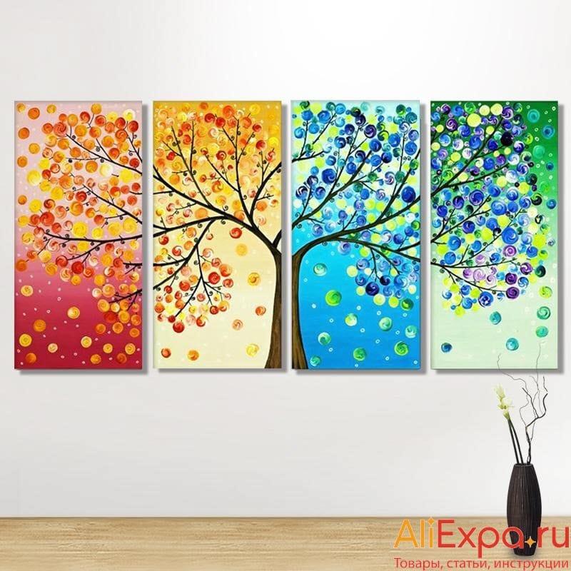 Модульная алмазная мозаика «Времена года» из четырёх картин купить на Алиэкспресс