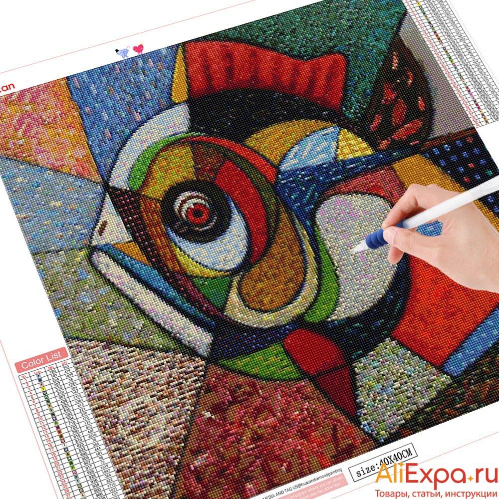 Абстрактная алмазная мозаика с рыбой купить на Алиэкспресс