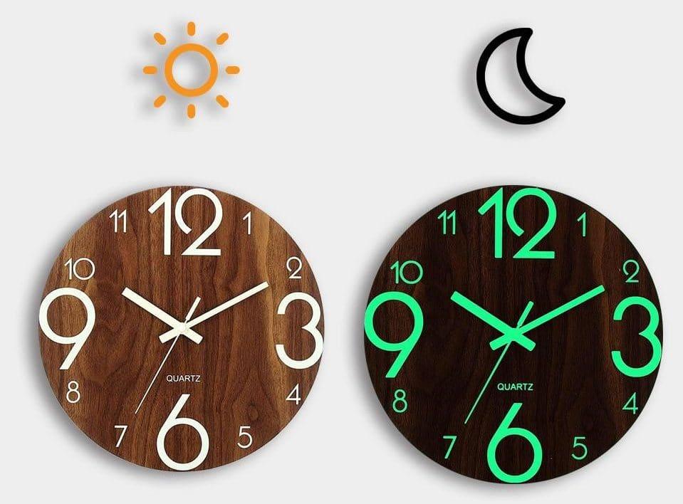 Деревянные часы со светящимся циферблатом купить на Алиэкспресс