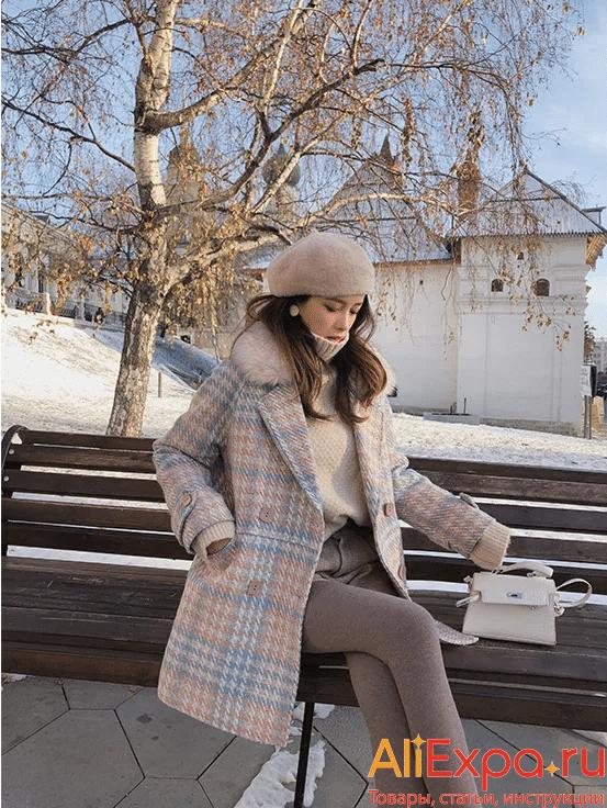 Демисезонное пальто с меховым воротникомот Mishow купить на Алиэкспресс