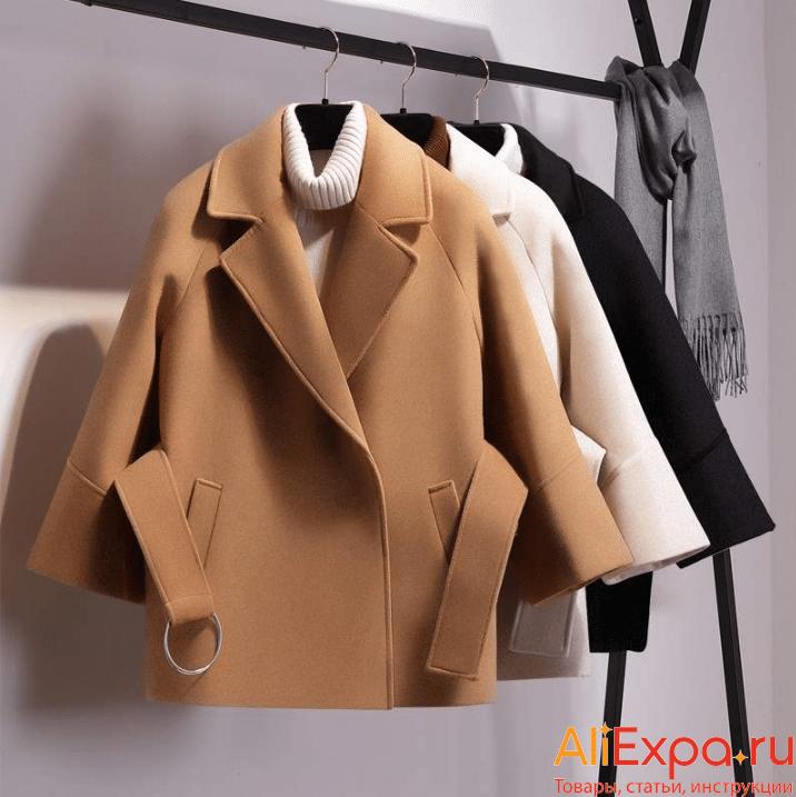 Короткое женское пальто с поясом от Adojewello купить на Алиэкспресс