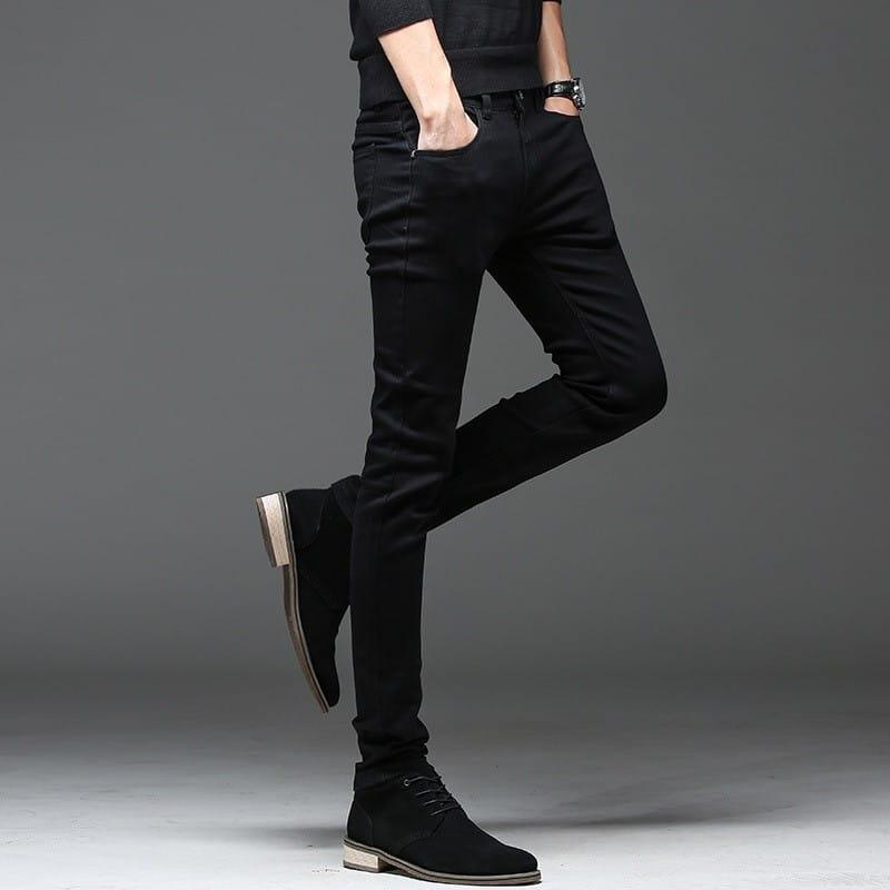 Черные повседневные зауженные джинсы купить на Алиэкспресс