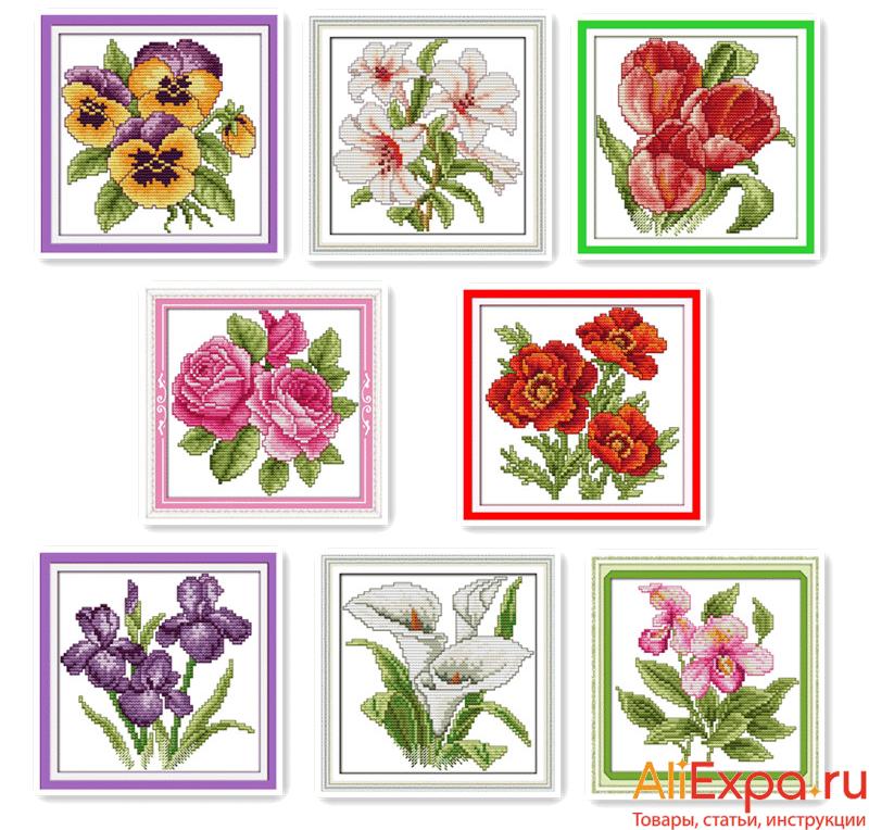 Простые квадратные вышивки с цветами купить на Алиэкспресс